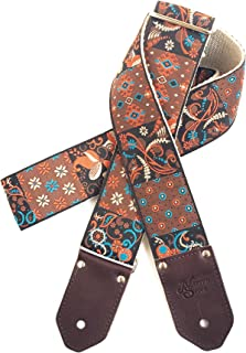 The Mojave Guitar Strap - Unique Floral, Paisley, Native Motifs in Rust, Blue, Browns, Black- Custom Leather in Black, Espresso, Cognac