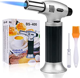 Culinary Blow Torch, Inpher Chef Cooking Torch Lighter, Butane Refillable, Flame Adjustable (MAX 2500°F) with Safety Lock for Cooking, BBQ, Baking, Brulee, Creme, DIY Soldering & more