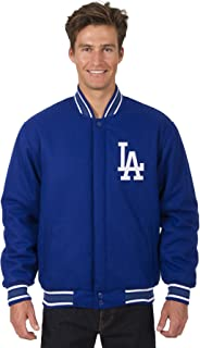 J.H. Design Los Angeles Dodgers Jacket Wool Nylon Royal Blue Reversible Embroidered Logos