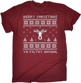123t Men's Merry Christmas Ya Filthy Animal Tshirt