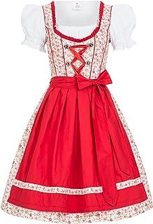 Mufimex Damen Dirndl Kleid Dirndlkleid Trachtenkleid Midi Blümchenstoff