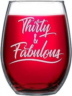 NeeNoNex Thirty & Fabulous Stemless Wine Glass - 30th Thirtieth Birthday Gift