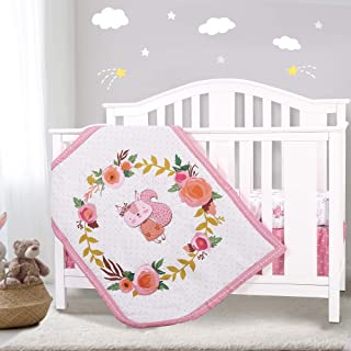 Honkaii Crib Bedding Sets for Girls 3 Pcs, Squirrel Baby Crib Bedding Sets Including Crib Quilt/Crib Skirt/Crib Sheet, Pink & White