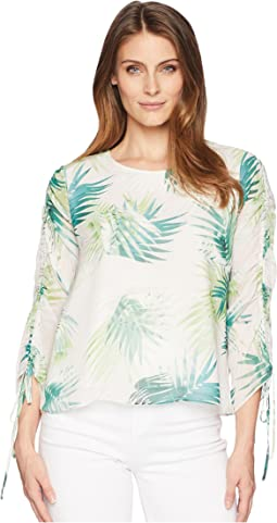 Drawstring Sleeve Sunlit Palm Print Blouse