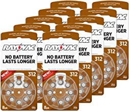 Rayovac Size 312 Extra Advanced Mercury Free Hearing Aid Batteries (80 Batteries)