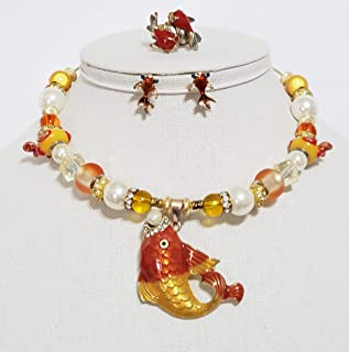 Crystal Pearl Enamel Nautical Necklace Earrings Betsey Johnson Goldfish One of a Kind