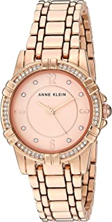 Anne Klein Women's Swarovski Crystal Accented Rose Gold-Tone Bracelet Watch, AK/3482RGRG