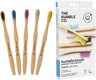 Natural Bamboo Toothbrushes (5pk) - Zero Waist Oral Care - Wooden Toothbrush - Organic, Vegan, Eco-Friendly and Biodegrada...