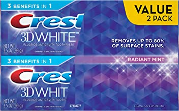 Crest 3D White Radiant Mint Whitening Toothpaste Twin Pack, 7 Ounce