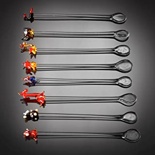 Set Of 8 Hand Crafted Unique Glass Drink Stirrers Cocktail Swizzle Sticks Featuring Cute Animals - 15cm (6')