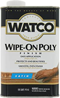 Watco 68141 Wipe-On Polyurethane Finish, Quart, Clear Satin