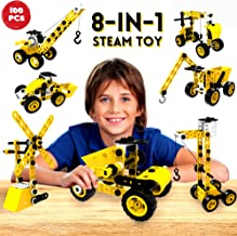 STEM Toys Kids Building Toys – 100 Piece 8-in-1 DIY Learning Construction Toy, Best Educational Kids Building Toys for Boys and Girls Mechanical Engineering Set Gifts for Ages 5 6 7 8 9 + Years Old