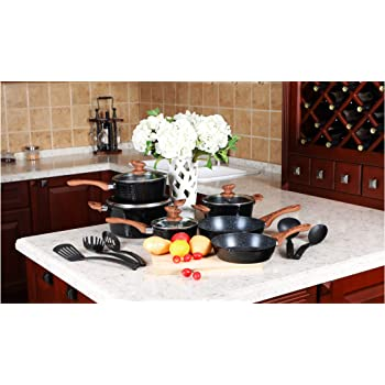 Kitchen Academy 15 Piece Nonstick Granite-Coated Cookware Set with 5 Pc Nylon Utensils,Suitable for All Stove Including Induction - Dishwasher Safe