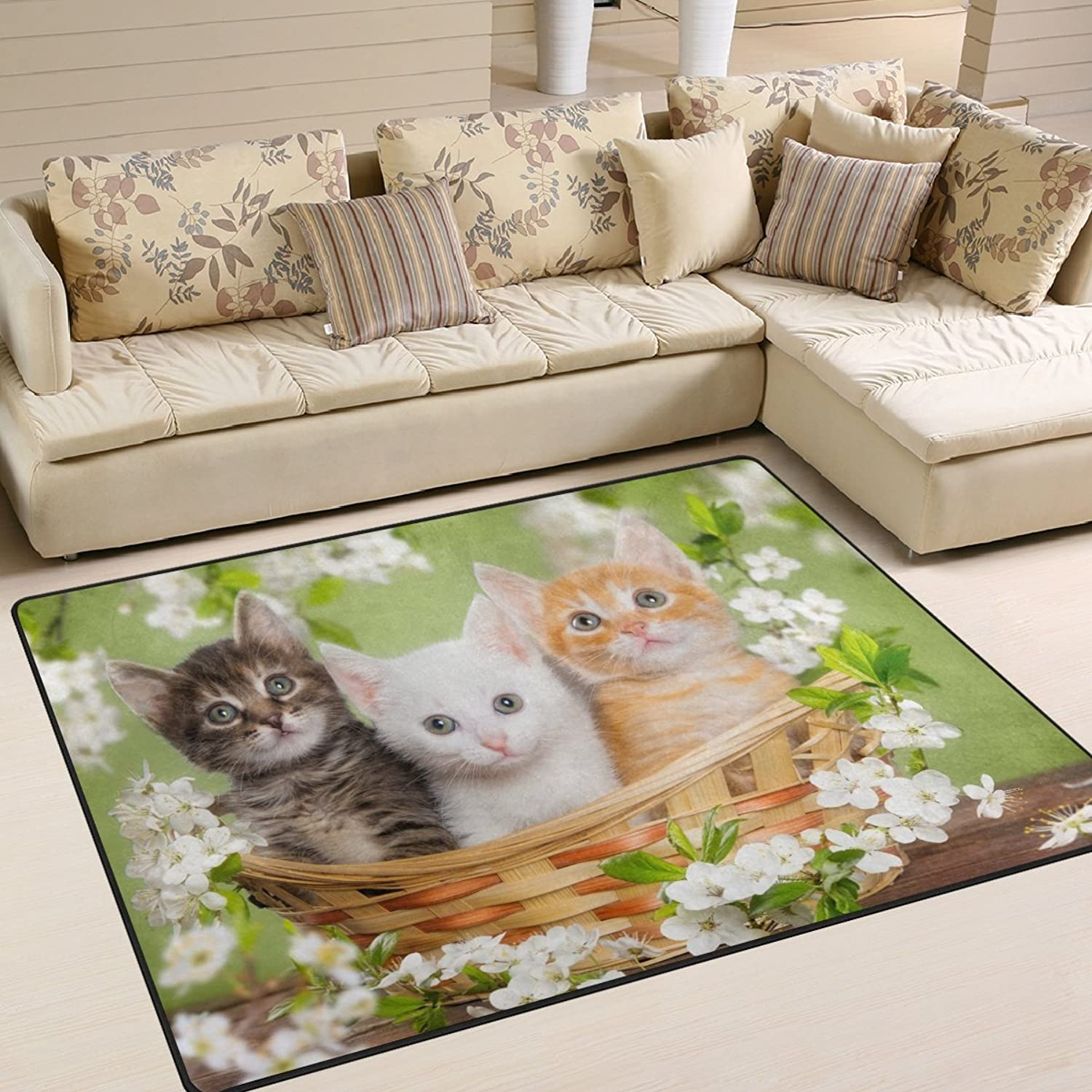ALAZA Funny Cat Kitten on Basket Flower Area Rug Rugs for Living Room Bedroom 5'3 x 4'