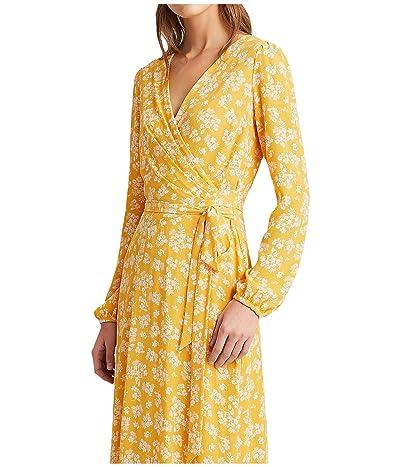 LAUREN Ralph Lauren Franny Westbury Floral Dress (True Marigold/Colonial Cream) Women