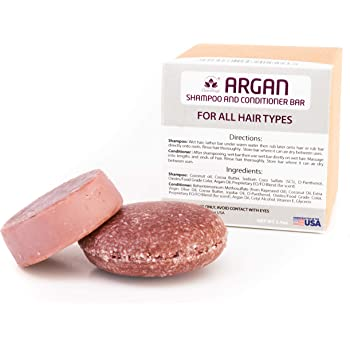 Argan Oil Shampoo and Conditioner Bar Combo Set, Natural Solid Bar for All Hair Vegan Made in USA