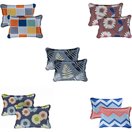 Radeet New Luxuries Designed 100% Pure Polycotton Pillow Covers ( Set of 5 Pair - 10pcs Pillow Covers ) ( Size 18 X 28 Inches ) ( Multi Colors )