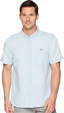 Lacoste Short Sleeve Hawaii Collar Cotton/Linen Indigo Regular