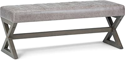 Simpli Home Salinger 48 inch Wide Contemporary Modern Rectangle Ottoman Bench in Distressed Grey Taupe Faux Air Leather