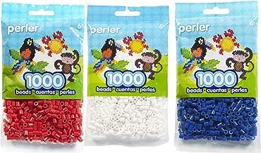 Perler Beads White/Red/Dark Blue. (AMERICAN FLAG)