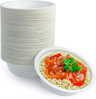 Sugarcane Bagasse 12 Ounce Compostable Eco Friendly Disposable Bowls 100 Pack - Natural and Eco Friendly Biodegradable