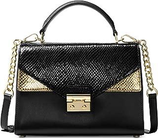 MICHAEL Michael Kors Sloan Embossed Leather Top Handle Satchel, Black Gold