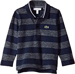 Long Sleeve Semi Fancy Striped Heather Pique Polo (Infant/Toddler/Little Kids/Big Kids)