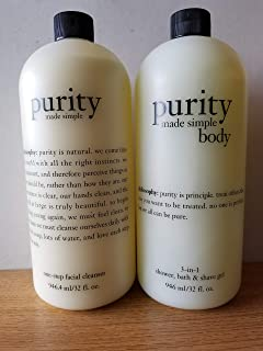 Set of Purity Made Simple Facial Cleanser and Purity Body 3-1 gel 32 oz ea New with pumps