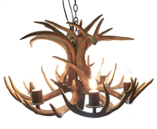 Six Light Single Tier Mule Deer Real Antler Chandelier