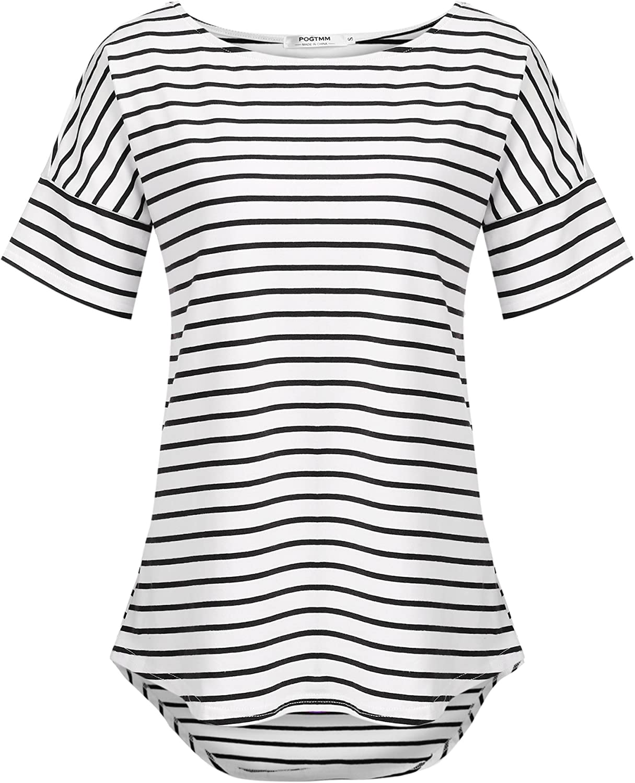 Petite Women's Casual Raglan Short Sleeve Striped Loose TShirt for Juniors (Black&White, US S(46))