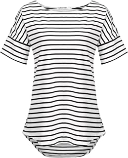 POGT Women's Casual Raglan Short Sleeve Patchwork Striped...