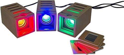 Leuchtstrahler, Zauberlicht – Licht-Experimente im Physik-Unterricht, 3x Strahler 5x Farbfolie