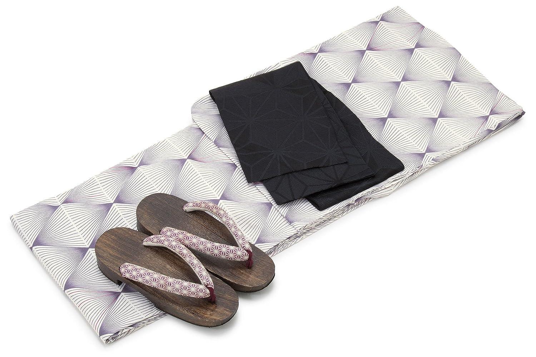[ボヌールセゾン] bonheur saisons レディース浴衣セット 半幅帯 灰紫色 パープル 白 黒 幾何学模様 菱 綿 アートモダン 変わり織