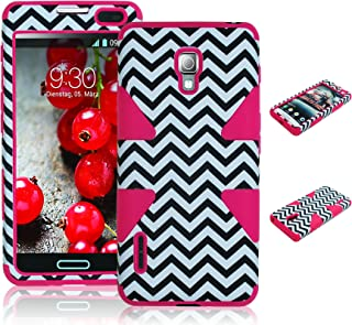 Bastex Heavy Duty Hybrid Case for LG Optimus F7 US780 - Pink Silicone/White Chevron Hard Shell