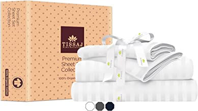 Tissaj Twin XL Size Bed Sheets Set - Stripes Ultra White - 100% GOTS Certified Organic Cotton - 300 Thread Count - 3 Piece...