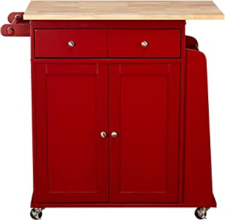 red rolling kitchen cart