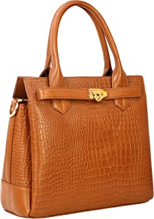 MOZRI Small Top-Handle Purses and Handbags for Women - Ladies Leather Bags(Croco Texture)