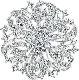EVER FAITH Austrian Crystal Vintage Inspired Bridal Flower Brooch Corsage