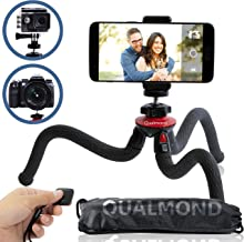 Qualmond Universal Flexible Tripod: Phone, Camera, Gopro Tripod Adapters for iPhone, DSLR, Smartphone-Sturdy,Lightweight, Handy Tripod Stand w/Bluetooth Remote Control-Octopus Style,(5 in 1)