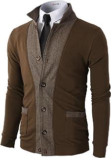 H2H Mens Casual Slim Fit Jacket Cardigans Long Sleeve Two-Tone Herringbone