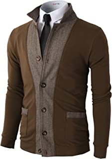 H2H Mens Casual Slim Fit Jacket Cardigans Long Sleeve Button-Down Two-Tone Herringbone