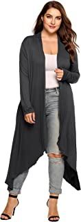 Zeagoo Women's Plus Size Long Sleeve Waterfall Asymmetric Drape Open Front Long Maxi Cardigan Sweater L-5XL