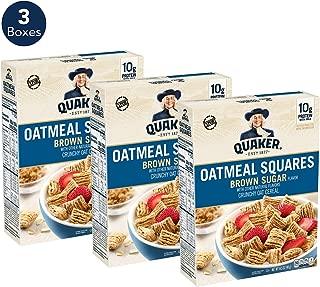 Quaker Oatmeal Squares Breakfast Cereal, Original Brown Sugar, 14.5oz Boxes (Pack of 3)
