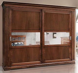 Dafne Italian Design Armoire à 2 portes coulissantes en bois de noyer, style classique (L 290 x H 250 x P 67) (TVG)