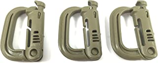 ITW GrimLoc - Locking D-Ring for Molle Gear - Tactical Accessory Locking Carabiner (3 pack) (Tan)