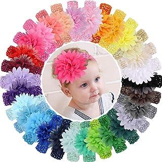 WillingTee 30pcs Baby Girls Headbands Chiffon Flower Soft Strecth Hair Band Hair Accessories for Baby Girls Newborns Infan...