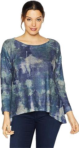 Blue Tie-Dye Print Top