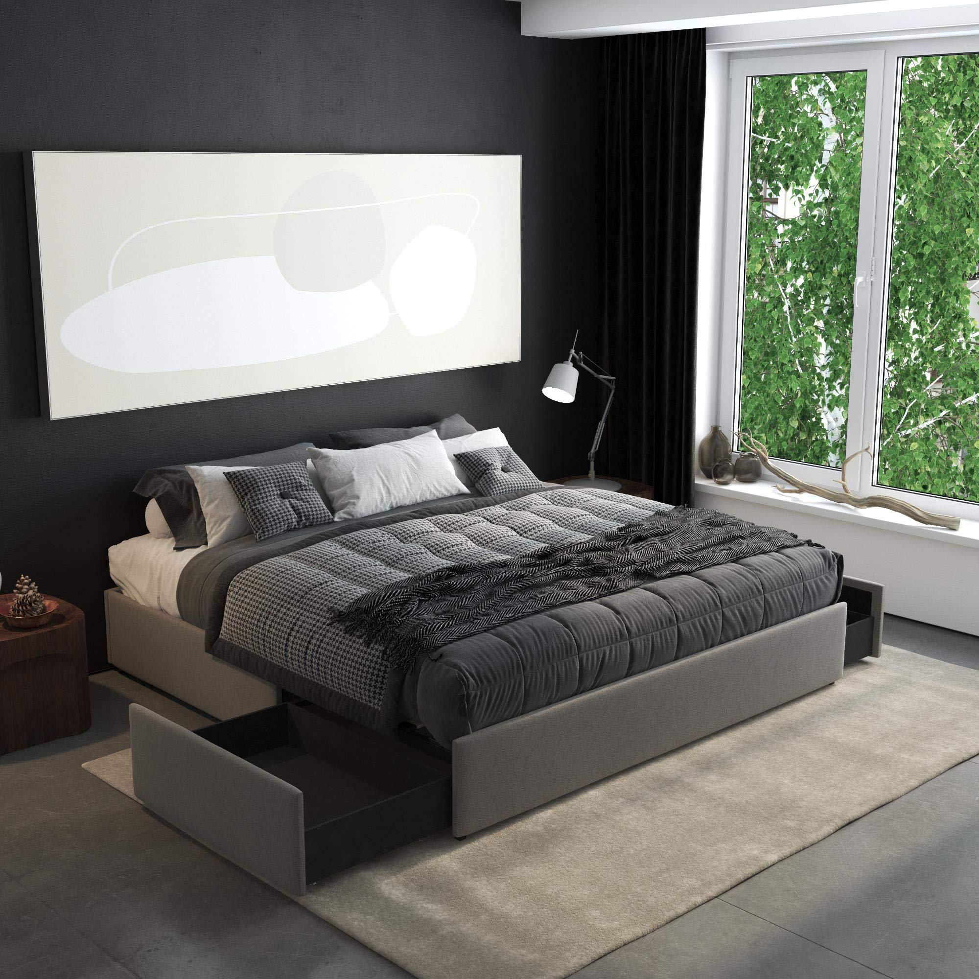 DHP Maven Platform Storage, King Size Frame, Grey Upholstered Beds, Linen