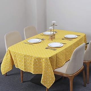 Nappe Rectangulaire Coton et Lin Nappe Motif en Damier Nappe de Table Anti-Poussière Lavable Housse de Table pour Table à ...