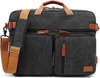 CoolBELL 15.6Inches Convertible Backpack Messenger Bag Shoulder bag Laptop Case Handbag Business Briefcase Multi-functional Travel Rucksack Fits 15.6 Inch Laptop For Men/Women (Cancas Black)